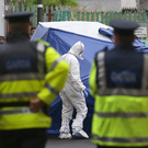 Gardaí at the scene of the fatal stabbing at Clinch's Court, North Strand, Dublin. Photo: Damien Eagers/INM
