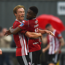Junior Ogedi-Uzokwe of Derry City, right, celebrates with team-mate Greg Sloggett after scoring his side's first goal during the SSE Airtricity League Premier Division match between Derry City and Sligo Rovers at Ryan McBride Brandywell Stadium in Derry. Photo by Oliver McVeigh/Sportsfile