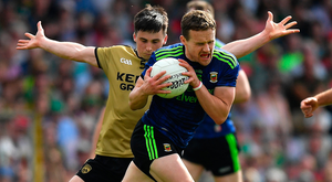 Andy Moran under pressure from Kerry's Paul Murphy during Mayo's heavy loss to the Kingdom in Killarney last weekend. Photo: Sportsfile