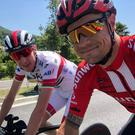 Cousins Nicolas Roche and Dan Martin enjoy a selfie before today's time trial