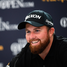 Shane Lowry of Ireland during a press conference following his round during Day Two of the 148th Open Championship at Royal Portrush in Portrush, Co Antrim. Photo by Ramsey Cardy/Sportsfile