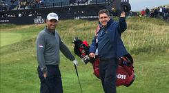 'It was still a great buzz to follow the three-time major champion up the 18th at the Open and onto the green.'
