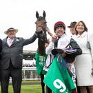 Frankie Dettori celebrates winning the Kerrygold Irish Oaks with connections of Star Catcher. Photo: Patrick McCann