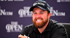 Shane Lowry of Ireland during a press conference after finishing his round on Day Three