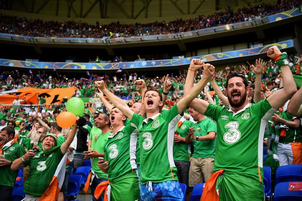 EXCLUSION THREAT: Ireland fans in full voice before the last-16 tie against France in the last Euro Championships in 2016. Picture: Getty