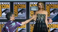 Taika Waititi and Natalie Portman speak at the Marvel Studios Panel during 2019 Comic-Con International at San Diego Convention Center on July 20, 2019 in San Diego, California. (Photo by Kevin Winter/Getty Images)