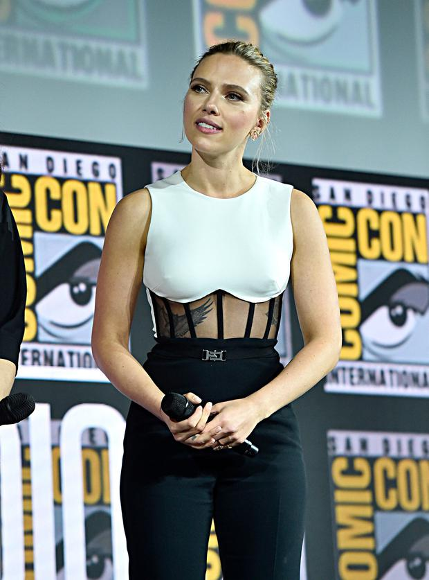 Scarlett Johansson of Marvel Studios' 'Black Widow' at the San Diego Comic-Con International 2019 Marvel Studios Panel in Hall H on July 20, 2019 in San Diego, California. (Photo by Alberto E. Rodriguez/Getty Images for Disney)