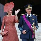 Belgium's King Philippe, Queen Mathilde and their daughter Crown Princess Elisabeth leave the Sainte-Gudule cathedral after a religious service (Te Deum) on Belgian national day in Brussels, Belgium July 21, 2019. REUTERS/Yves Herman