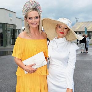 Aine Malone and Ashlee Coburn at the Kilbeggan Races Best Dressed Lady Competition. Picture: Brian McEvoy