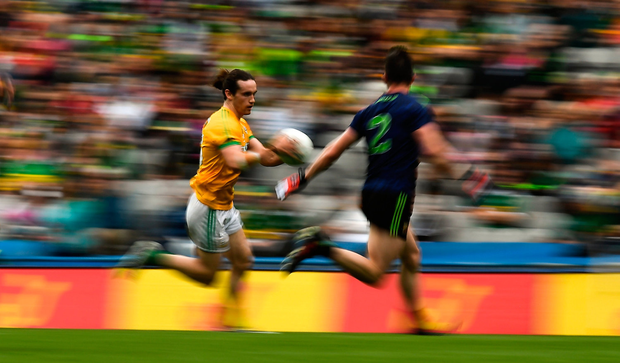 Cillian O'Sullivan of Meath in action against Stephen Coen of Mayo during the GAA Football All-Ireland Senior Championship Quarter-Final Group 1 Phase 2 match at Croke Park in Dublin. Photo by David Fitzgerald/Sportsfile