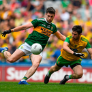 Paul Geaney of Kerry in action against Ryan McHugh of Donegal during the GAA Football All-Ireland Senior Championship Quarter-Final Group 1 Phase 2 match at Croke Park in Dublin. Photo by David Fitzgerald/Sportsfile