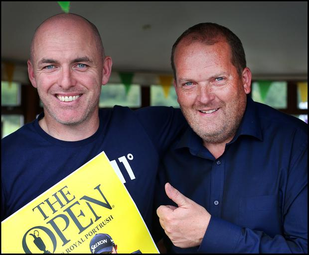 Joe Duffy from Tullamore and Adrian O'Reilly from Clara Offaly cheering on Shane Lowry during the final day of the British Open at Esker Hills Golf Club in Offaly. Pic Steve Humphreys 21st July 2019
