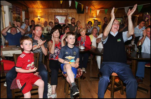 Ray Molloy cheering on Shane Lowry during the final day of the British Open at Esker Hills Golf Club in Offaly. Pic Steve Humphreys 21st July 2019