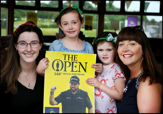 Sisters Michelle Molloy and Bridget Farrell along with Bridgets's children Isabel Farrell (7) and Jane Farrell (4) all from Tullamore Offaly cheering on Shane Lowry during the final day of the British Open at Esker Hills Golf Club in Offaly. Pic Steve Humphreys 21st July 2019