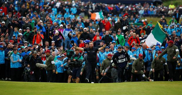 Golf - The 148th Open Championship - Royal Portrush Golf Club, Portrush, Co. Antrim - July 21, 2019 Ireland's Shane Lowry on the 18th hole during the final round REUTERS/Jason Cairnduff