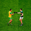 Paul Brennan of Donegal shakes hands with Seán O'Shea of Kerry after the GAA Football All-Ireland Senior Championship Quarter-Final Group 1 Phase 2 match at Croke Park in Dublin. Photo by Daire Brennan/Sportsfile