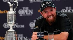 Republic Of Ireland's Shane Lowry during a press conference after winning the Claret Jug during day four of The Open Championship 2019 at Royal Portrush Golf Club. Photo credit: Richard Sellers/PA Wire.