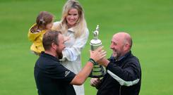 Ireland's Shane Lowry's dad Brendan Lowry with the Claret Jug during day four of The Open Championship 2019 at Royal Portrush Golf Club. Photo credit: Richard Sellers/PA Wire.