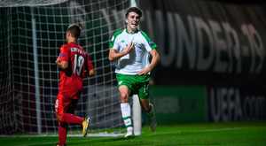 Barry Coffey of Republic of Ireland celebrates after scoring his side's second goal during the 2019 UEFA U19 European Championship Finals group B match between Ireland and Czech Republic at the FFA Academy Stadium in Yerevan, Armenia. Photo by Stephen McCarthy/Sportsfile