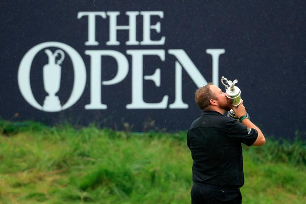 Open Champion Shane Lowry of Ireland celebrates with the Claret Jug on the 18th green during the final round of the 148th Open Championship held on the Dunluce Links at Royal Portrush Golf Club on July 21, 2019 in Portrush, Co. Antrim. (Photo by Andrew Redington/Getty Images)
