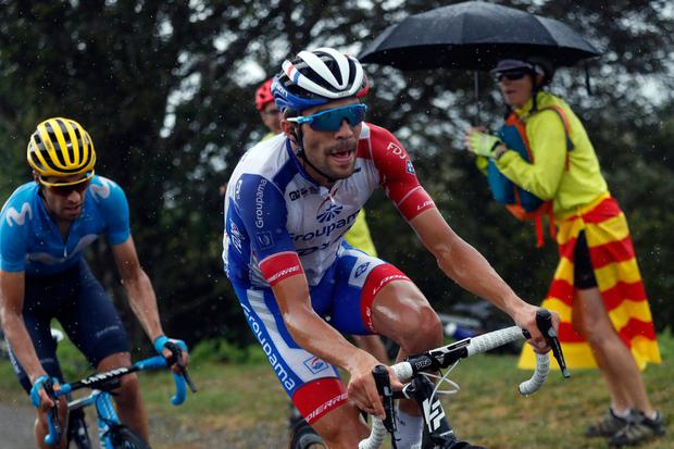 France's Thibaut Pinot, center, and Spain's Mikel Landa climb Prat d'Albis during the fifteenth stage of the Tour de France. Photo: AP Photo/Thibault Camus