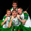 Ireland's Andy Lyons, Oisin McEntee, Kameron Ledwidge and scorer of the winner Barry Coffey celebrate their victory over Czech Republic at the U-19 European Championship. Photo: Stephen McCarthy/Sportsfile