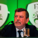 FAI president Donal Conway speaks with the media following the association's EGM on Saturday. Photo: Eóin Noonan/Sportsfile