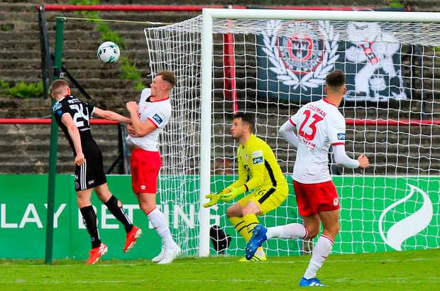 Ryan Swan of Bohemians scores his sides first goal of the game during the SSE Airtricity League Premier Division match between Bohemians and St Patrick's Athletic at Dalymount Park in Dublin. Photo by Michael P Ryan/Sportsfile