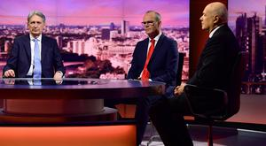 Britain's Conservative MP Iain Duncan Smith and Tanaiste and Minister of Foreign Affairs Simon Coveney appear on BBC TV's The Andrew Marr Show in London. Photo: Jeff Overs/BBC/Handout via REUTERS