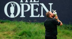 Open Champion Shane Lowry celebrates with the Claret Jug. Photo: Getty