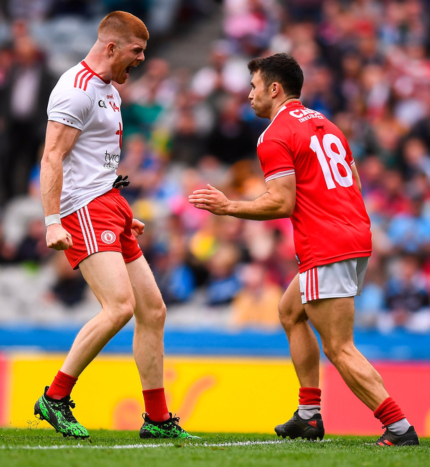 Cathal McShane celebrates his goal in front of Cork's Stephen Cronin. Photo: David Fitzgerald/Sportsfile