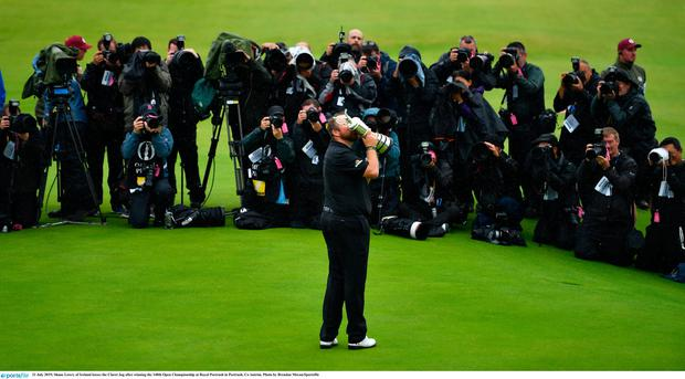 21 July 2019; Shane Lowry of Ireland kisses the Claret Jug after winning the 148th Open Championship at Royal Portrush in Portrush, Co Antrim. Photo by Brendan Moran/Sportsfile