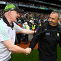 Donegal manager Declan Bonner, left, and Kerry manager Peter Keane shake hands following the GAA Football All-Ireland Senior Championship Quarter-Final Group 1 Phase 2 match between Kerry and Donegal at Croke Park in Dublin. Photo by David Fitzgerald/Sportsfile