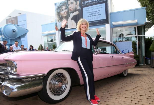 Legendary actress and singer Olivia Newton-John unveiling an exhibition representing her extraordinary career at the Newbridge Silverware Museum of Style Icons. Photograph: Leon Farrell / Photocall Ireland
