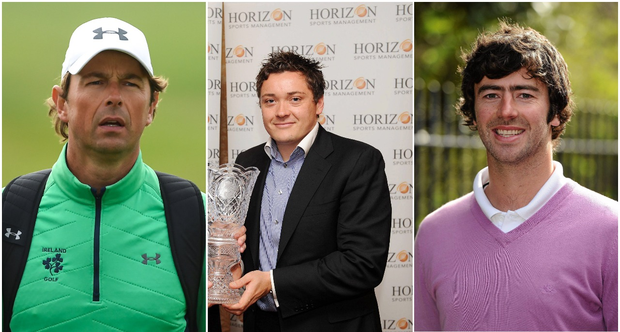 Shane Lowry's coach Neil Manchip (left), manager Conor Ridge (centre) and close friend Dara Lernihan (right).