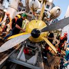 The AsterX submarine drone returns on board the Antea research vessel during the second phase of the search for the wreckage of the Minerve submarine. Picture: Sebastien Chenal/Marine Nationale/Handout via REUTERS