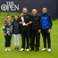 Shane Lowry of Ireland celebrates with his parents Bridget and Brendan Lowry, brother Alan and sister Sinead with the Claret Jug, with his wife Wendy Horner and daughter Iris, left, after winning The Open Championship on Day Four of the 148th Open Championship at Royal Portrush in Portrush, Co Antrim. Photo by Ramsey Cardy/Sportsfile