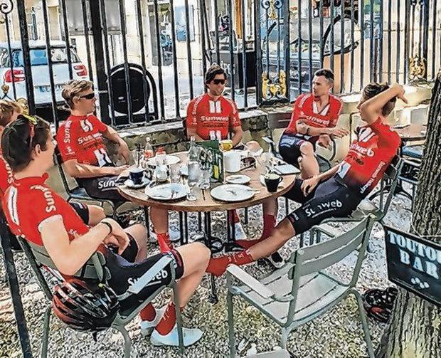 Enjoying a coffee with my Sunweb team-mates on yesterday's rest day