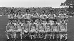 The All-Ireland winning Offaly team of 1982, with Brendan Lowry front row, second from left. Photo: Ray McManus / SPORTSFILE