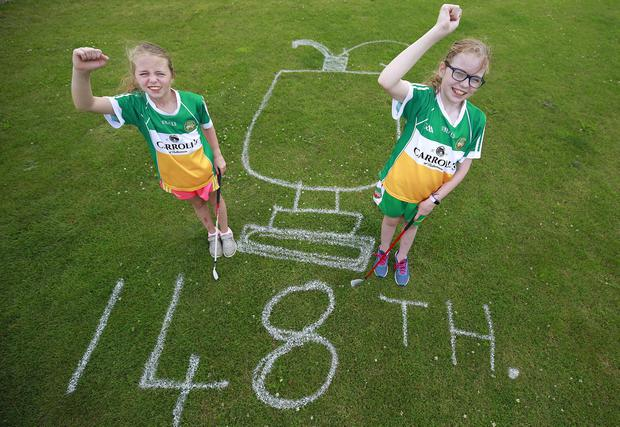 Shannon Molloy (11) right and her sister, Aoibhinn (9), pictured at their home beside Esker Hills Golf Club, in Offaly, home club of Shane Lowry as they celebrate his success in the Open. Photo: Damien Eagers / INM