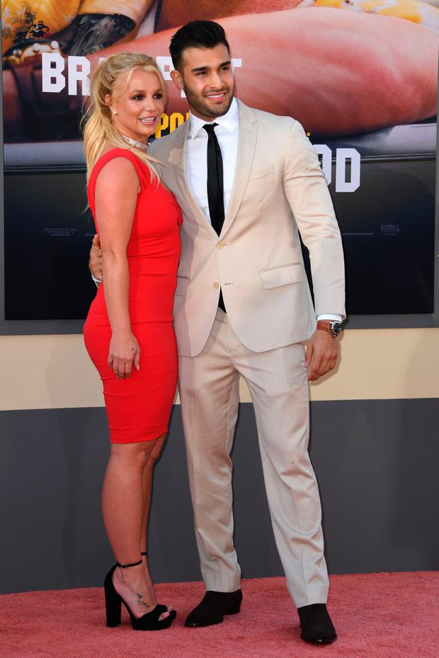 US singer Britney Spears (L) and boyfriend Sam Asghari arrive for the premiere of Sony Pictures'