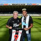 Newcastle manager Steve Bruce with new signing Joelinton. Image credit: Newcastle United.