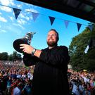 Shane Lowry with the Claret Jug during the homecoming event at Clara GAA, Clara in County Offaly. PRESS ASSOCIATION Photo. Picture date: Tuesday July 23, 2019. See PA story GOLF Open. Photo credit should read: Donall Farmer/PA Wire