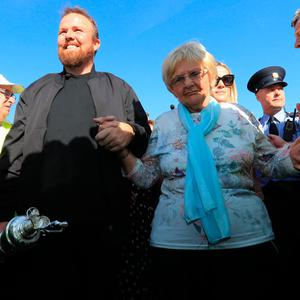 Shane Lowry with his grandmother Emily Scanlon and the Claret Jug during the homecoming event at Clara GAA, Clara in County Offaly. PRESS ASSOCIATION Photo. Picture date: Tuesday July 23, 2019. See PA story GOLF Open. Photo credit should read: Donall Farmer/PA Wire