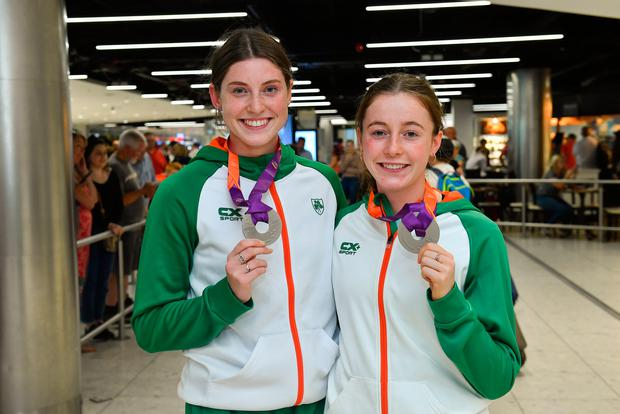 Kate O'Connor with her silver medal from the women's Euro U20 Championships heptathlon event, left, and Sarah Healy, with hers from the 1500m