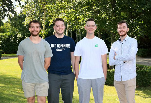 Lifesavers: Alex Thomson (24) and brothers Declan (18), Walter (21) and Eoghan Butler (18) sprang into action when they heard a call for help on Portmarnock beach. Picture: Frank McGrath