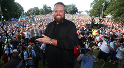 Celebrations: Shane Lowry with crowds at his homecoming. Photos: Steve Humphreys