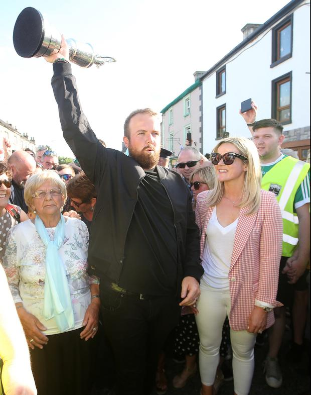 Shane Lowry, his wife Wendy and grandmother Emily Scanlon at his homecoming in Clara, Co Offaly. Picture: Steve Humphreys