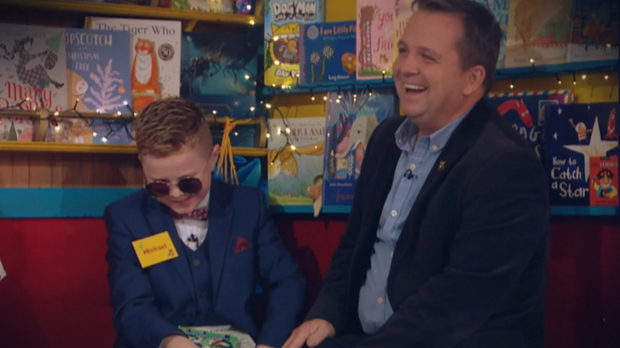 Michael O'Brien with Davy Fitzgerald on the Late Late Toy Show. PIC: RTE