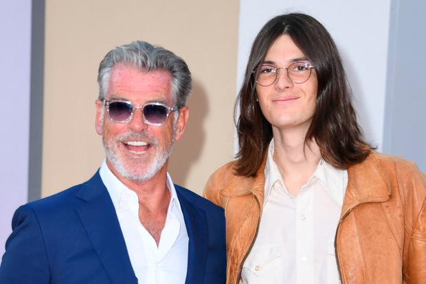 US-Irish actor Pierce Brosnan (L) and son Dylan Brosnan arrive for the premiere of Sony Pictures'